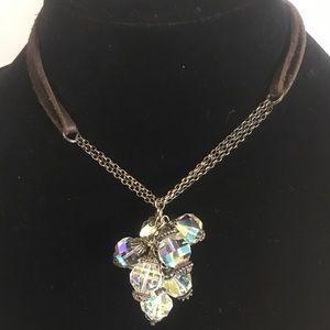 Emily Jane Swarovski & leather necklace